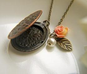 Embossed Vine Locket Necklace In Antique Brass Finish