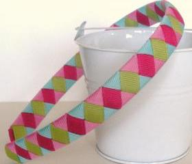 Girls Headband Woven: half inch headband hand woven from blue, pinks, and kiwi