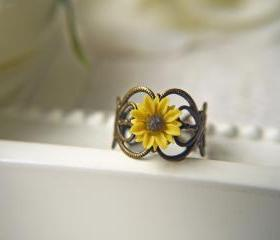 I Heart Sunflower Ring. Bright Yellow Sunflower. Available In Antique Brass