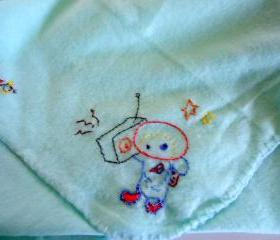 Fleece Baby Blanket Mint Green With Embroidered Space Motifs