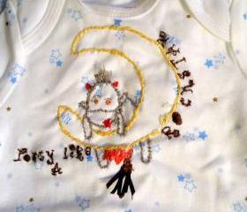 Space Motif Onesie Handmade Cow and Moon