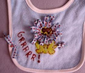 REVERSIBLE Handpainted Bib Ribbons And Funny Phrase