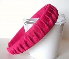 Twisted Woven Headband: one inch wide made from shocking pink grosgrain