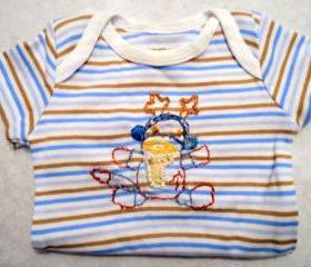 Sock Monkey Onsie Hand Embroidered For Newborn Boy
