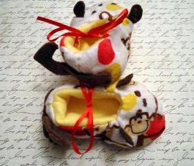 Fabric Monkey Booties UNISEX In Sizes 0 to 18 Months
