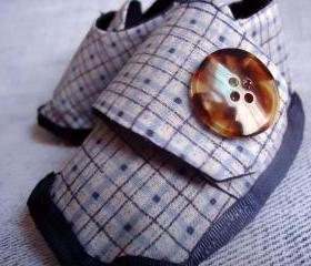 Handmade Boy Booties Denim Plaid Size 6 Months to 12 Months