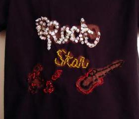 Rock And Roll Shirt Black Hand Beaded Toddler Size 2 to 4