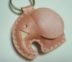 New Laura the Elephant Leather Keychain ( Metallic Pink )