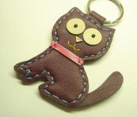 MoMo the Cat Leather Keychain ( Purple )
