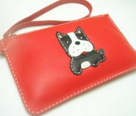 Deuce the Boston Terrier leather Wristlet ( Red )