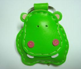 Hugo the Hippo Leather Keychain ( Lime Green )