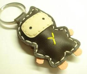 Lovely Taka the Ninja Leather Keychain ( Dark Brown )