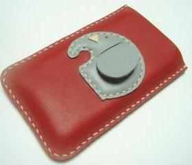 Laura the elephant iPhone Leather Case ( Red )
