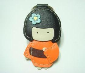 Sakura the Geisha Doll leather keychain ( Orange )