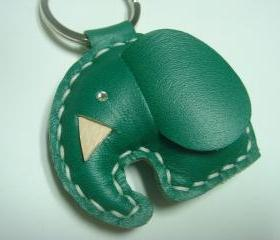 New Laura Elephant Leather Keychain ( Dark Green )