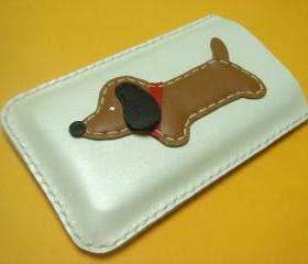Jemma the Dachshund iPhone leather case ( White )