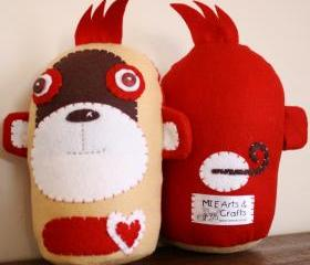BOObeloobie Mango the Monkey in Red, Chocolate Brown, Cream and white accents