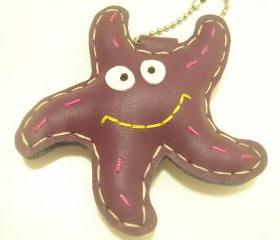 Sandy the Starfish Leather Bag Charm ( Purple )