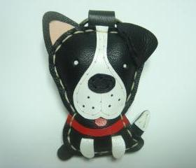 PD the Pitbull Terrier leather keychain ( Black )