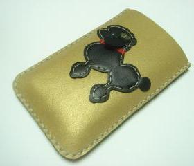 Siqi the Poodle iPhone Leather Case ( Metallic Gold / Black )