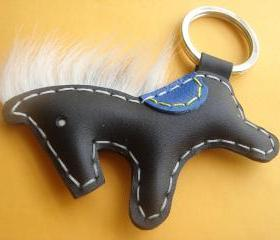 Beon the Horse Leather Keychain ( Black )
