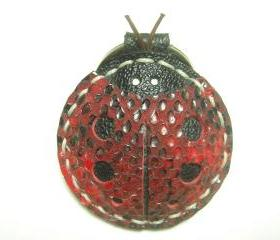 Penny the LadyBug Leather Keychain ( Red Lizard Printed )
