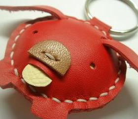 Candy the Pig Leather Keychain ( Red )
