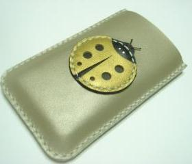 Penny the Ladybug iPhone Leather Case ( Ivory / Gold )