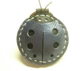 Penny the LadyBug Leather Keychain ( Metallic Blue )