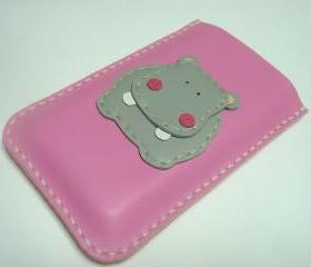 Hugo the Hippo iPhone Leather case ( Pink and Grey )