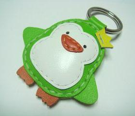 Perry the Penguin Leather Keychain ( Lime Green )