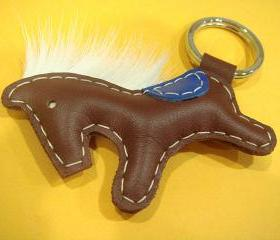 Beon the Horse Leather Keychain ( Dark Brown )