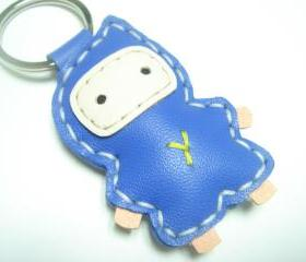 Lovely Taka the Ninja Leather Keychain ( Bright Blue )