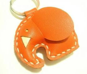 Leather Keychain - Laura the Orange Elephant leather charm