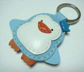 Leather Keychain - Perry the Penguin Leather Charm ( Light Blue )