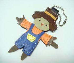 Scarppy the Scarecrow leather charm ( Orange / Blue )