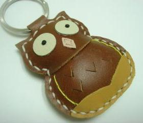 Lovely Fiona the Owl Leather Keychain ( Brown )