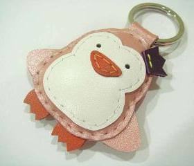 Perry the Penguin Leather Keychain ( Metallic Pink )