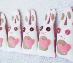 BOObeloobie MINI Ribbon the Rabbit (Bunny) in Pink, white, cream and printed fabric