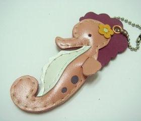 Leather Keychain Coral the Seahorse leather charm ( Metallic Pink )