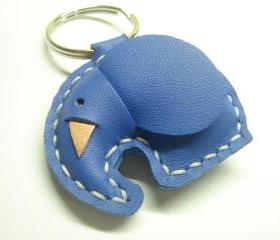 Laura the Elephant Leather Keychain ( Blue )