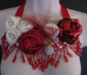 Red White Bib Necklace