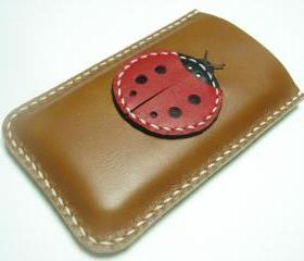 Penny the Ladybug iPhone Leather Case ( Brown and Red )