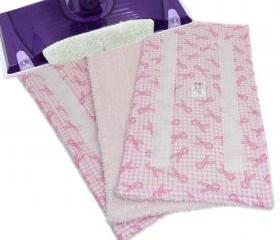 3 Reusable Wet Jet pads - Pink Ribbon Check pattern