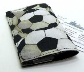 Business Card Holder Mini Wallet - Soccer Balls pattern