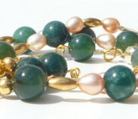 Green and Gold vintage style glamour bracelet