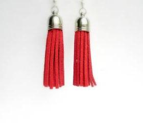 Red Tassel Earrings, Faux Suede Tassel Earrings