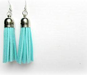 Aqua Tassel Earrings, Fringe Earrings