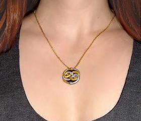 Mini Neverending Story Auryn Pendant and Gold Chain Necklace