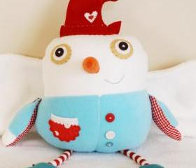 BOObeloobie Slushy the Snowman in Red, white and blue with a Orange Carrot Nose ready for Christmas